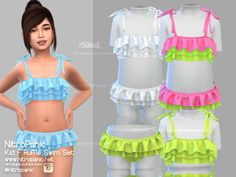 sims 4 cc // custom content kids clothing // Kids Ruffle Swim Set for The Sims 4 Sims 4 Toddler Clothes, Sims 4 Cc Kids Clothing, Sims 4 Mods Clothes, Teen Clothing, Children Clothing, Toddler Cc Sims 4, Toddler Girls, Sims 4 Teen, Sims Four