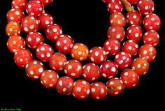 Skunk Venetian Red White Spotted Trade Beads African. ETSY