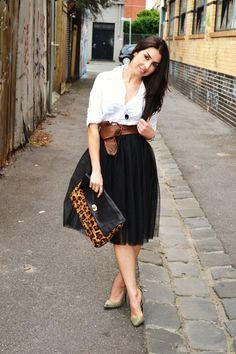 black tulle skirt, brown leather belt & white blouse