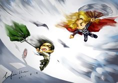 Loki and Thor and their storm by geminibluedream.deviantart.com on @deviantART