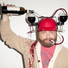 Zach Galifianakis and his wine helmet.Taken by Terry Richardson Dallas Restaurants, Zach Galifianakis, Terry Richardson, Helmet Design, Wine Drinks, Party Drinks, Beverages, Kitchen Aid Mixer, Good People