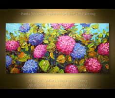 """Hydrangea Original Impressionist Palette Knife Floral  Painting from Paula Ready to ship Ready to Hang 40"""" x 20"""""""