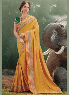 5dbdd6401ea6a Sarees Online  Buy Yellow Art Silk Designer Embroidered Saree At Best Price  On Variation. Huge Collection Of Designer Sarees