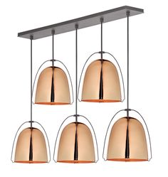Haleigh 8in 5-Light Multipendant 36in Rectangle - Staggered Drop - Polished Copper A0495