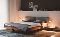 Wooden double bed By more design Bernhard Müller Wooden Double Bed, Double Beds, Master Bedroom Interior, Bedroom Furniture Design, Double Bed Designs, Home Office Decor, Home Decor Inspiration, Contemporary Furniture, Bed Frame