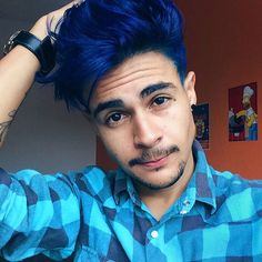 Blue mens hair dark blue hair for men trendy hair colors for men should see hairstyles Mens Blue Hair, Navy Blue Hair, Mens Hair Colour, Hair Color Blue, Hair Colors, Black Hair, Blue Colors, Boy Hairstyles, Trendy Hairstyles