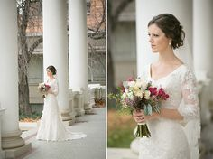 This bride's lace modest wedding dress is stunning.  katebensonphotography.net
