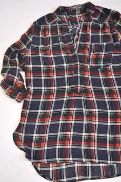My go-to blouse style in a pretty plaid!