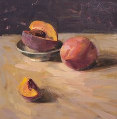 Quang Ho  Two Peaches Oil on linen 12 x 12 inches