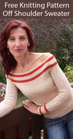 Free Knitting Pattern for Off Shoulder Sweater - Long sleeved pullover with off the shoulder neckline and textured rib. Sizes but easily customizable for other sizes. Designed by Ioana Petrus as Off Shoulder Blouse Knitting Patterns Free, Free Knitting, Free Pattern, Off Shoulder Sweater, Off Shoulder Tops, Single Crochet Stitch, Knit In The Round, Red Heart Yarn, Stockinette