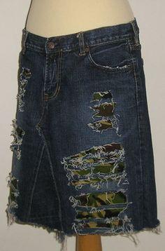 Distressed Frayed Denim Gap MINI Skirt Punk Camo by r3vamp on Etsy, $29.99