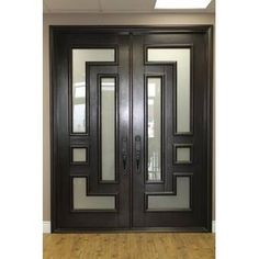 IDD Forged Iron Doors Series has the doors and transoms you need to customize the perfect and secure entryway. This high-quality collection of entry doors includes hand-made decorative scrolls with… Double Front Entry Doors, Double French Doors, Glass Front Door, Iron Front Door, Black Front Doors, Door Entry, Glass Doors, Double Door Design, Main Door Design
