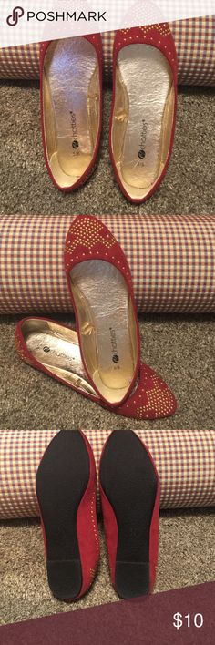 Red Studded Pointed Toe Flats from chatties Chatties Red Gold studded pointed toe Flats are cute and stylish !! Brand New w/o tags never worn !! Size 5/6 chatties Shoes Flats & Loafers