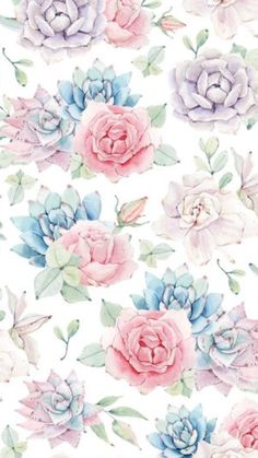 Would Make Pretty Background Paper >Wallpaper . By Artist Unknown. Vintage Flowers Wallpaper, Flowery Wallpaper, Paper Wallpaper, Wallpaper Backgrounds, Iphone Wallpaper, Background Patterns, Background Pictures, Printable Designs, Printables