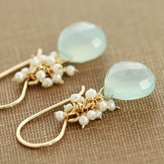 Seafoam Chalcedony Seed Pearl Earrings, Handmade Gold Dangle Earrings with Pearl Clusters, March Birthstone Jewelry, aubepine.   Love these.