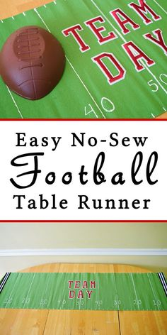 Make a No=Sew Football Table Runner that is customized for you and your family! Perfect for football viewing parties and fun to keep up all through the season! #ad #familypizzacombo #cbias