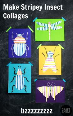 Super cute and easy insect collage project - first you paint stripes on paper and then cut them out into different bug shapes. Insect Crafts, Bug Crafts, Insect Art, Bug Art, 3rd Grade Art, Ecole Art, Art Lessons Elementary, Art Classroom, Art Plastique