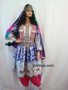 Huma Formal Fancy Dress.   Huma is a gorgeous fancy Afghan dress. You can wear this beautiful dress for any special occasion and look stunning. It comes with hot pink pants and multicolor chador (head scarf). Please Note: the Moatika is sold separately. Size: Small-Large Product ID: DHUMA http://www.zarinas.com/dresses.shtml