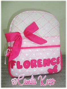 mochila infantil de tecido personalizada para meninas