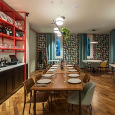 Vibia Brightens Turin's Bolpetta Restaurant - Vibia Globe Lamps, Exposed Brick Walls, Print Wallpaper, Turin, Marble Top, Illuminati, Lighting Design, Dining Table, Traditional