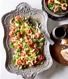 Australian Gourmet Traveller recipe for fregolone Sardo with pickled fennel and red wine vinaigrette by Lalla Rookh in Perth. Vegetable Side Dishes, Vegetable Pizza, Red Wine Vinaigrette, Recipe Search, Fennel, Cherry Tomatoes, Love Food, Salad Recipes, Food Photography
