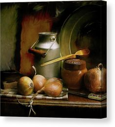 Vintage kitchen still life canvas with an antique, aluminum milk can, unions and various old kitchen accessories. Digitally enhanced photo with realistic painting effects and canvas texture. #fineartamerica #vintagecanvasprint #stilllifecanvas #antique Vintage Canvas, Vintage Art, Canvas Art For Sale, Color Tones, Realistic Paintings, Stretched Canvas Prints, Tag Art, Kitchen Accessories, Vintage Kitchen