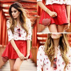 Pink Blue Store Shirt, Romwe Red Skirt, Romwe Heart Shaped Clutch