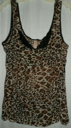 Cacique Sheer Mesh Cami Top 18/20 2x Plus Size Cheetah Leopard Animal Print #Cacique