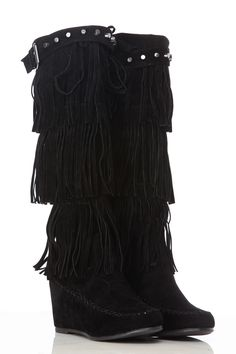 Black Faux Suede Fringe Knee High Wedge Boots @ Cicihot Boots Catalog. $50