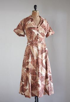 1950s dress - vintage 1950s sailboat print dress. $165.00, via Etsy.