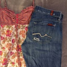 7 for all Mankind Straight Leg Distressed Jeans Soft and comfortable, straight leg jeans. Crystal back pockets (tiny sequins), some missing. Distressed style. Please Note: there is a small hole by the back pocket, see photo, could be patched pretty easy. Used but lots of life left in them. Too big for me now so selling. Size 29. 7 for all Mankind Jeans Straight Leg