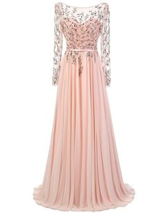 prom dresses,Sexy Prom Dress,A-Line Bateau Long Sheer Sleeves Backless Beading Long Prom Dress with Sash
