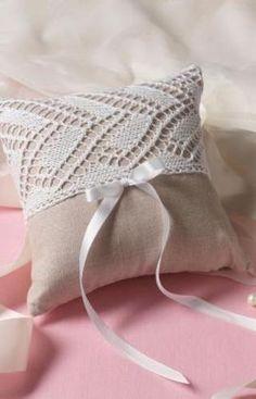 FREE: Wedding Ring Bearer Pillow White Lace Knitting Pattern * Rustic ...