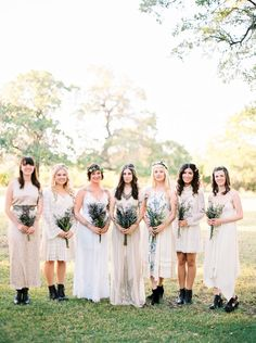 all in white and creme bridesmaid dresses? Everyone choose their own.