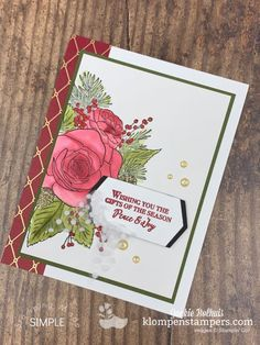 Make Elegant Homemade Christmas Cards + Free Tutorials Option Ready to make elegant homemade Christmas cards + learn how you can get free tutorials? These Christmas cards will impress your recipient. Watch the video Elegant Homemade Christmas Cards, Diy Christmas Cards, Stampin Up Christmas, Holiday Cards, Handmade Christmas, Card Making Tips, Card Making Tutorials, Christmas Rose, Christmas Holiday