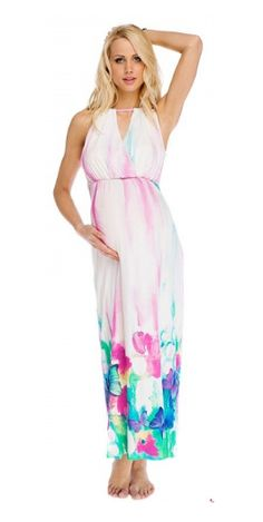 Maternity White Maxi Dress With Print