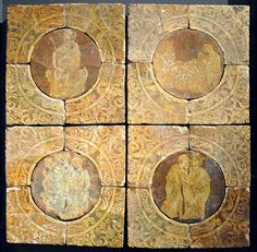Tristram tiles; about 1260s–1270s; Chertsey, Surrey, England (probably designed for a royal palace of Henry III)