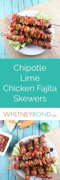These chipotle lime chicken fajita skewers are made by marinating chicken, then skewering it with fresh bell peppers and onions and grilling for a spicy, flavorful meal!