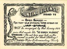 "American propaganda, ""Hunting License""."