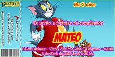 Tom and Jerry birthday invitation card. Tarjeta invitación para cumpleaños tipo ticket tema Tom y Jerry disponible en www.elsurdelcielo.com
