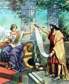 And Hilkiah gave the book to Shaphan. So Shaphan carried the book to the king (King Josiah). 2 Kings 22, King Josiah, Bible Illustrations, Bible Pictures, Prophetic Art, Churches Of Christ, Old Testament, Bible Stories, Bible Art
