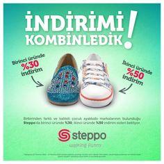 Birbirinden farklı ve kaliteli çocuk ayakkabı markalarının bulunduğu Steppo'da birinci üründe %30, ikinci üründe %50 indirim sizleri bekliyor.