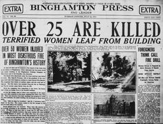 The front page of the July 22, 1913 edition of the Binghamton Press, following the fire at Binghamton Clothing Co. The fire claimed 31 lives and proved to be the deadliest blaze in Binghamton's history.