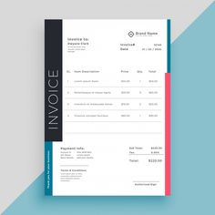 Clean modern invoice business template F. Invoice Design Template, Letterhead Template, Brochure Template, Flyer Template, Company Letterhead, Vertical Business Cards, Cool Business Cards, Musician Business Card, Banners Web