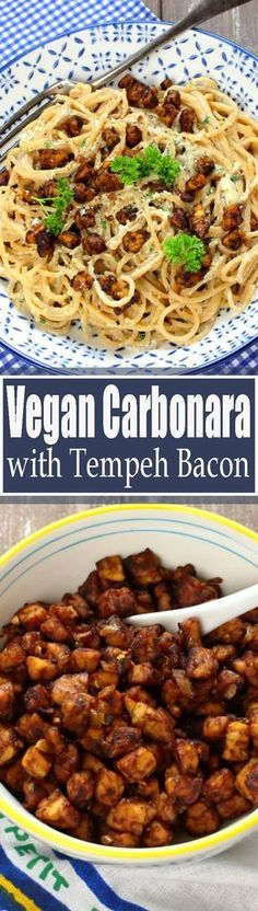 This vegan carbonara with tempeh bacon is super creamy and packed with flavor! One of my favorite vegan pasta recipes!