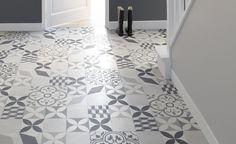 Saint Maclou | Sol vinyle TEXAS NEW, carreau ciment gris et noir, rouleau 4 m - Les sols aspect carreaux de ciment - Collection Sol