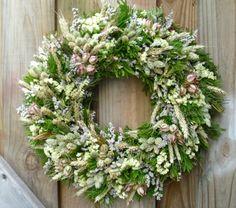Green And White Dried Flower Wreath, Summer Wreath, Wedding Wreath, All Year Dried Wreath Dried Flower Wreaths, Lavender Wreath, Pink Wreath, Tulip Wreath, White Wreath, Hydrangea Wreath, Dried Flowers, Floral Wreath, Green Wreath