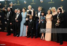 Rory McCann, Conleth Hill, Iwan Rheon, Gwendoline Christie, Peter Dinklage, Nikolaj Coster-Waldau, Maisie Williams, Emilia Clarke, Sophie Turner and Kit Harington, winners of Best Drama Series for 'Game of Thrones', pose in the press room at the 68th annual Primetime Emmy Awards at Microsoft Theater on September 18, 2016 in Los Angeles, California