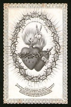 Ornate Lace Holy Card - Sacred Heart of Jesus and the Immaculate Heart of Mary