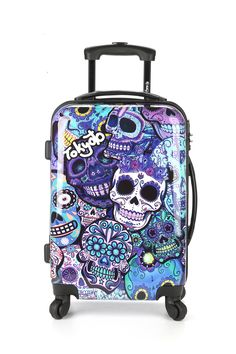 Hand Luggage Blue Skulls Front